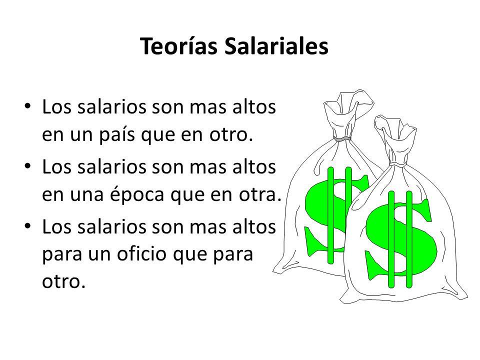 Teorías Salariales Los salarios son mas altos en un país que en otro.