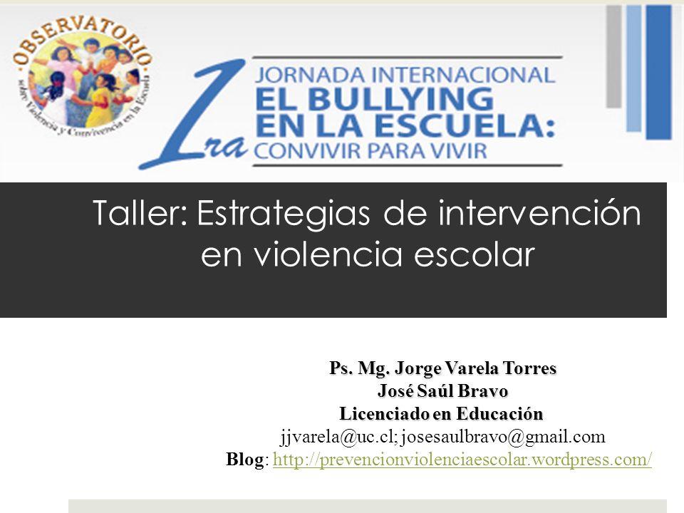 Taller: Estrategias de intervención en violencia escolar