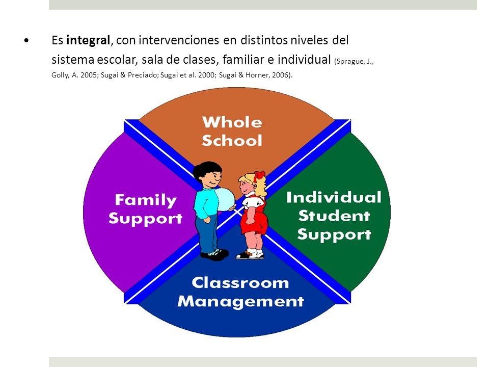 Es integral, con intervenciones en distintos niveles del sistema escolar, sala de clases, familiar e individual (Sprague, J., Golly, A.