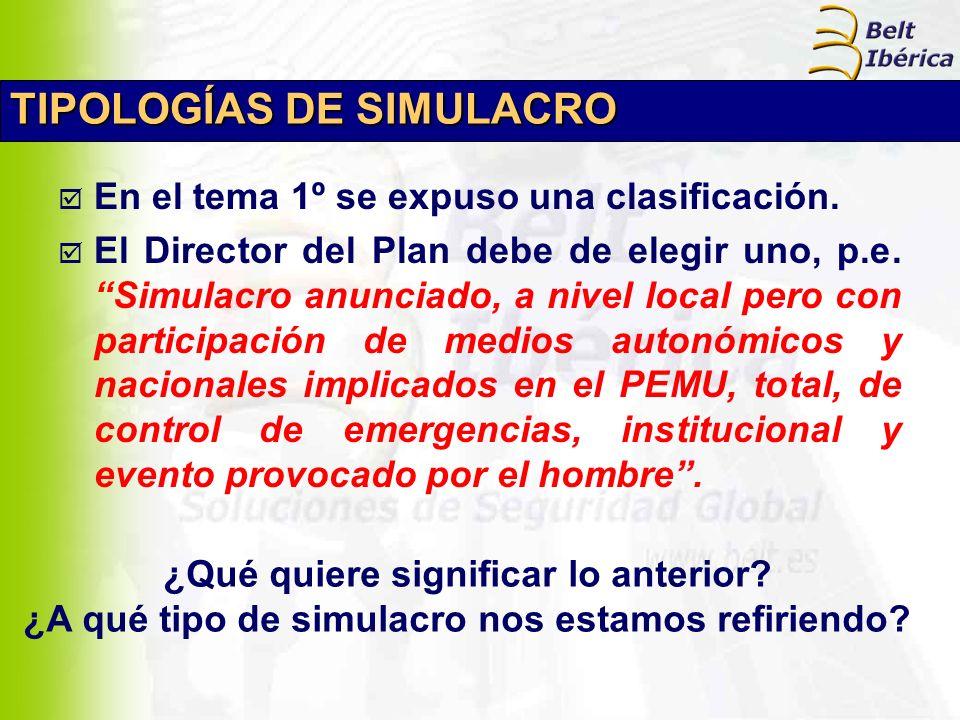 TIPOLOGÍAS DE SIMULACRO