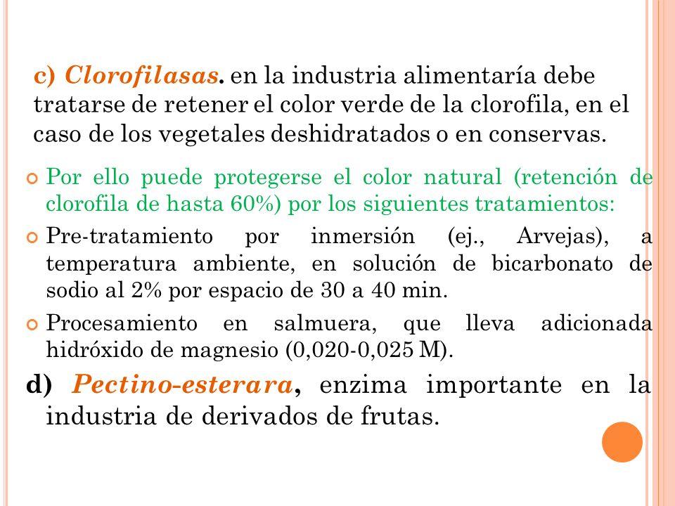 c) Clorofilasas. en la industria alimentaría debe tratarse de retener el color verde de la clorofila, en el caso de los vegetales deshidratados o en conservas.