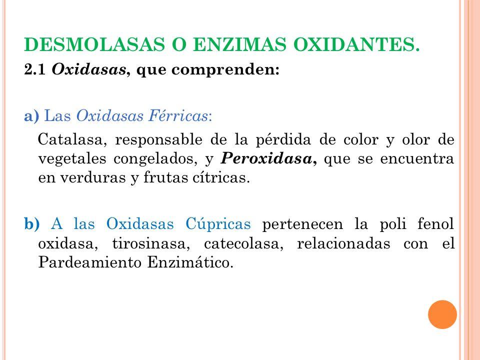 DESMOLASAS O ENZIMAS OXIDANTES.