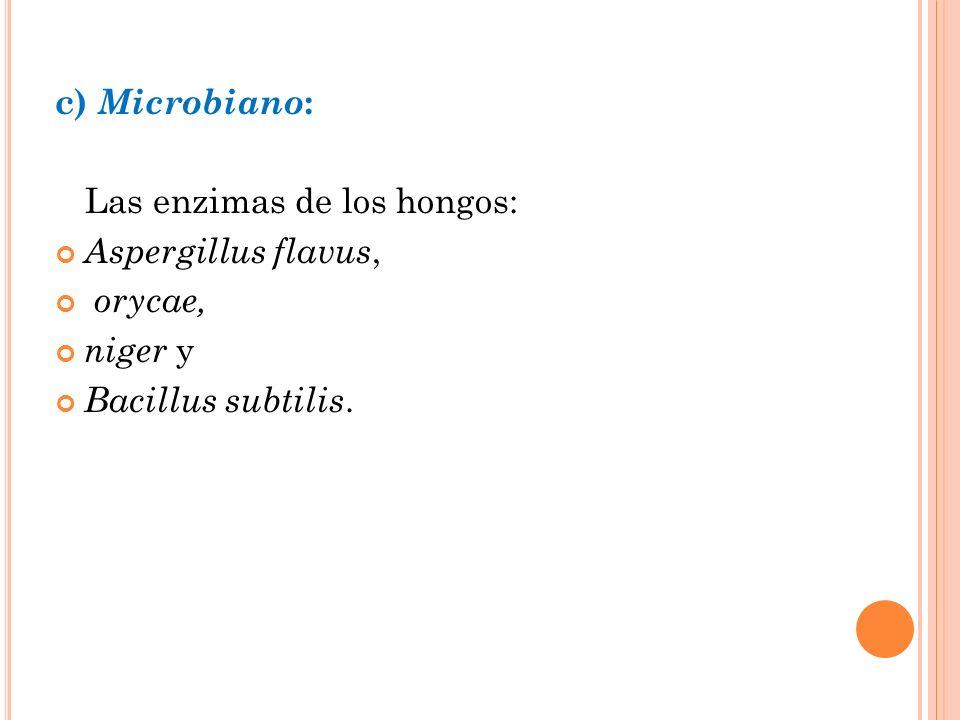 c) Microbiano: Las enzimas de los hongos: Aspergillus flavus, orycae, niger y Bacillus subtilis.