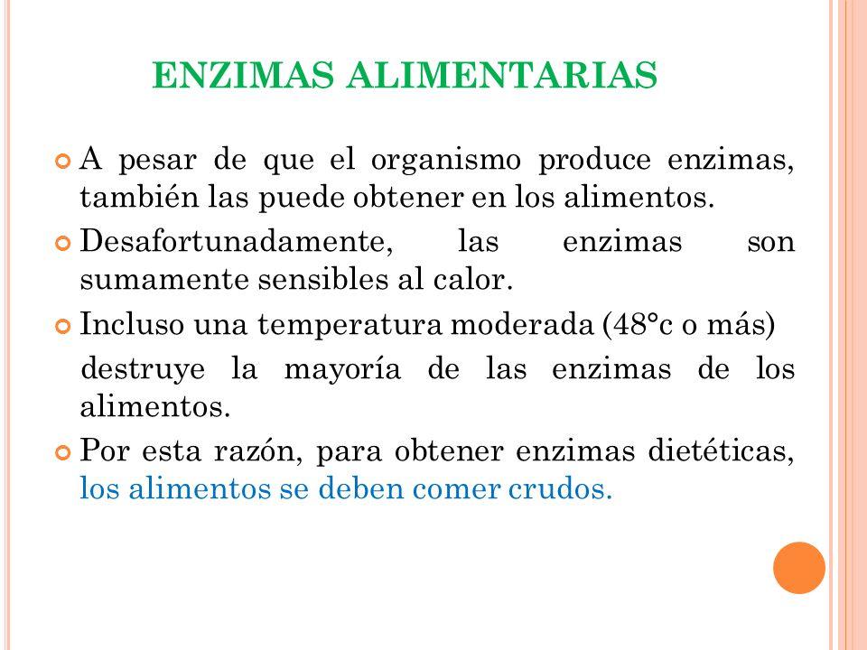 ENZIMAS ALIMENTARIAS A pesar de que el organismo produce enzimas, también las puede obtener en los alimentos.