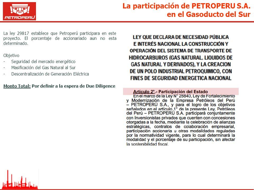 La participación de PETROPERU S.A. en el Gasoducto del Sur