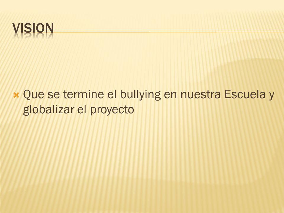 VISION Que se termine el bullying en nuestra Escuela y globalizar el proyecto