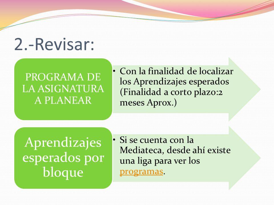 2.-Revisar: Aprendizajes esperados por bloque