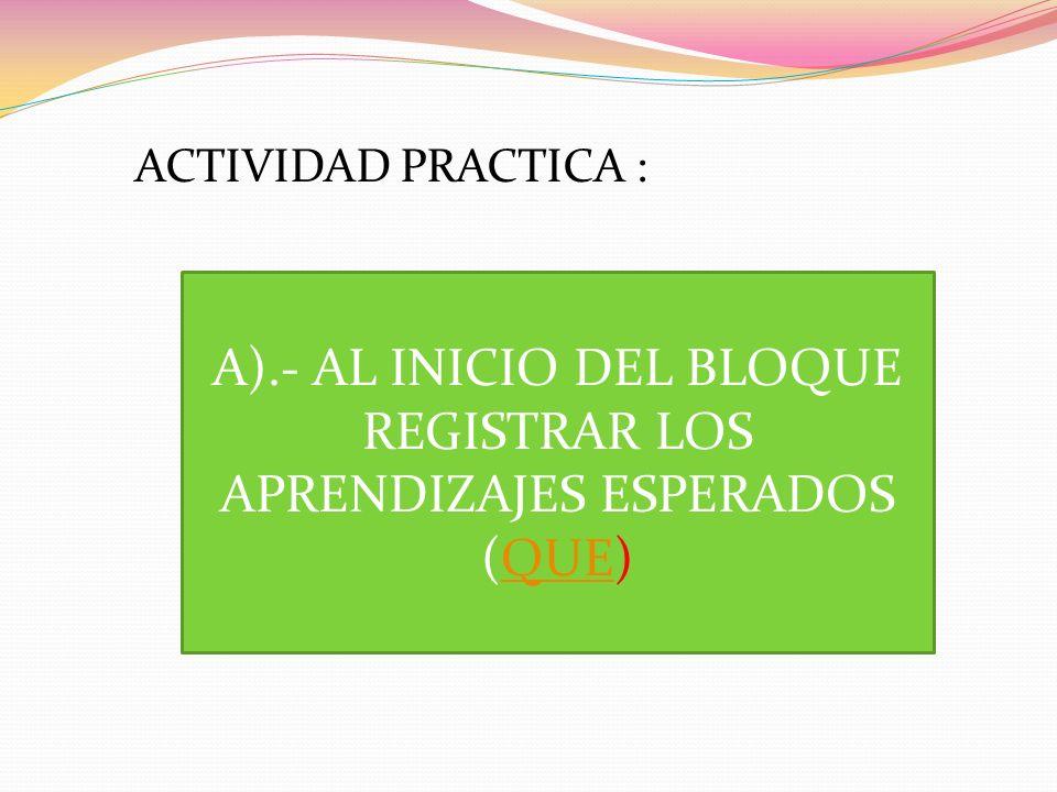A).- AL INICIO DEL BLOQUE REGISTRAR LOS APRENDIZAJES ESPERADOS (QUE)