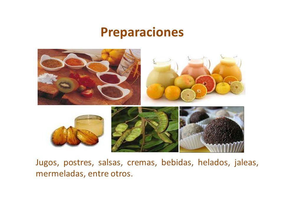 Preparaciones Jugos, postres, salsas, cremas, bebidas, helados, jaleas, mermeladas, entre otros.