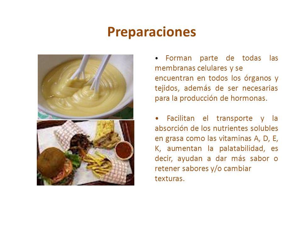 Preparaciones• Forman parte de todas las membranas celulares y se.