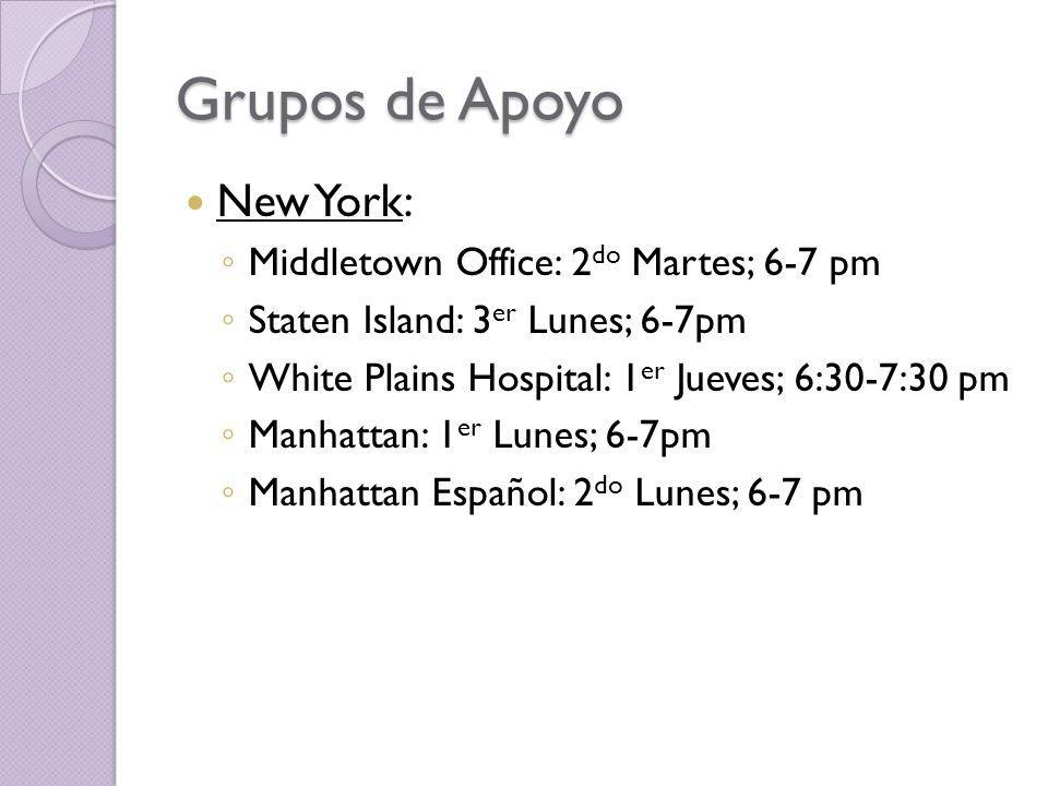 Grupos de Apoyo New York: Middletown Office: 2do Martes; 6-7 pm