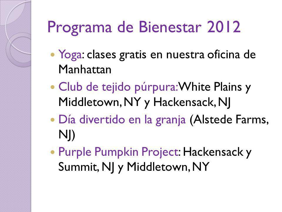 Programa de Bienestar 2012 Yoga: clases gratis en nuestra oficina de Manhattan.