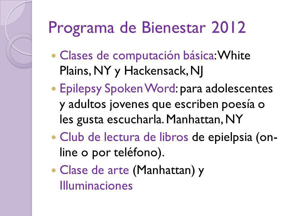 Programa de Bienestar 2012 Clases de computación básica: White Plains, NY y Hackensack, NJ.