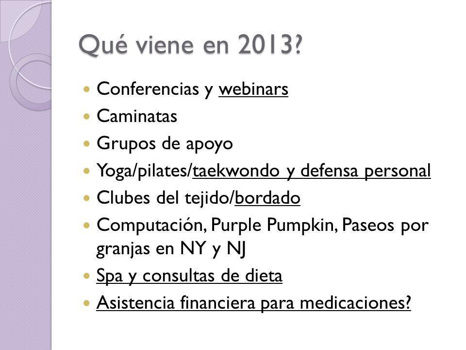 Qué viene en 2013 Conferencias y webinars Caminatas Grupos de apoyo