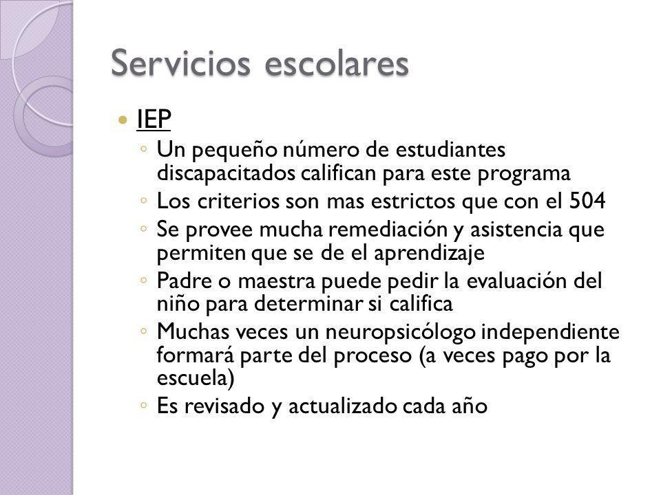 Servicios escolares IEP