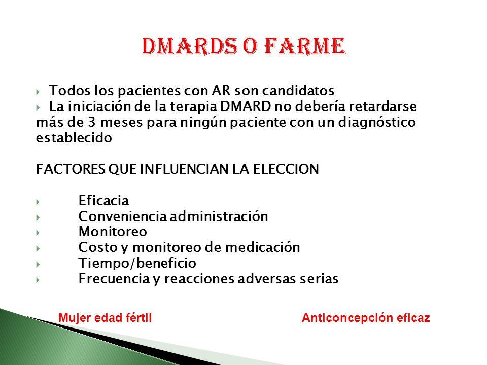 DMARDs o FARME Todos los pacientes con AR son candidatos