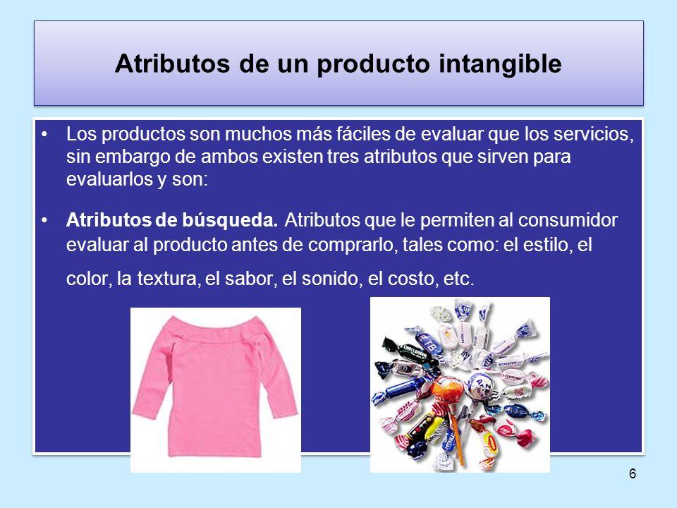 Atributos de un producto intangible