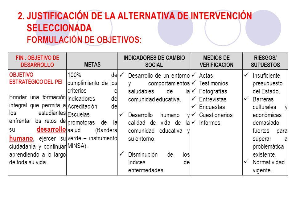 2. JUSTIFICACIÓN DE LA ALTERNATIVA DE INTERVENCIÓN SELECCIONADA FORMULACIÓN DE OBJETIVOS: