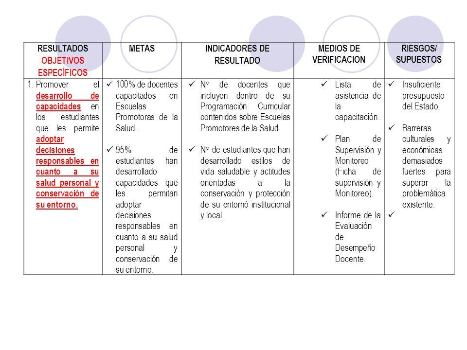 INDICADORES DE RESULTADO MEDIOS DE VERIFICACION