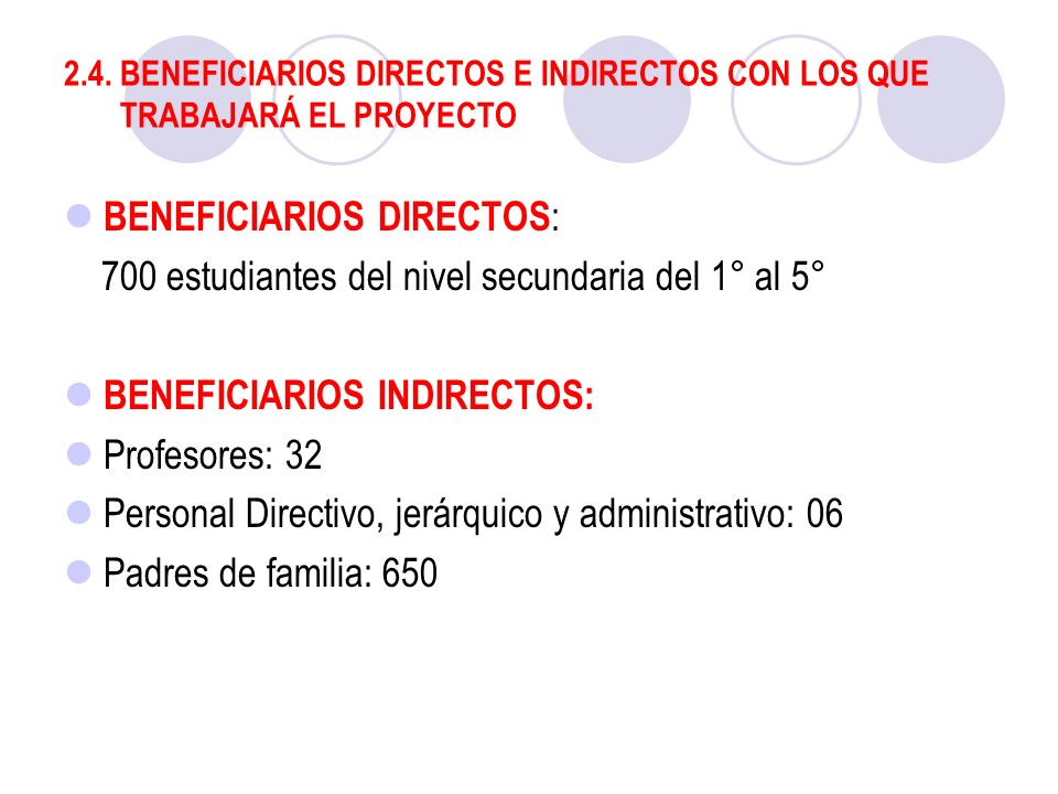 BENEFICIARIOS DIRECTOS:
