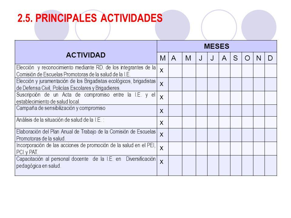 2.5. PRINCIPALES ACTIVIDADES