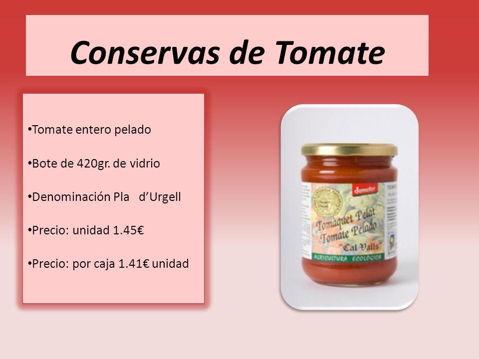 Conservas de Tomate Tomate entero pelado Bote de 420gr. de vidrio