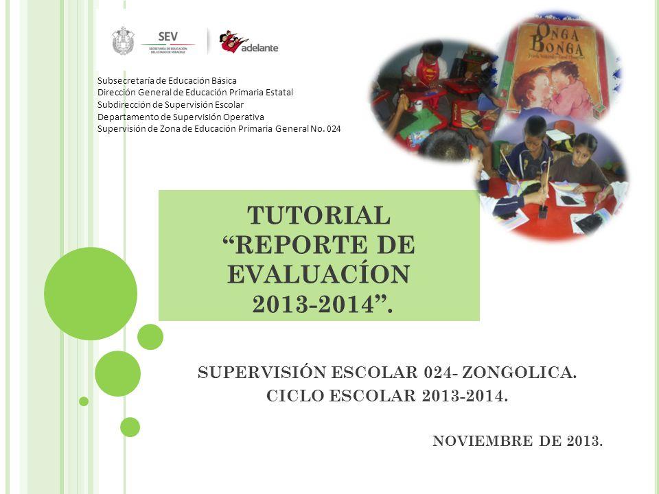 TUTORIAL REPORTE DE EVALUACÍON 2013-2014 .
