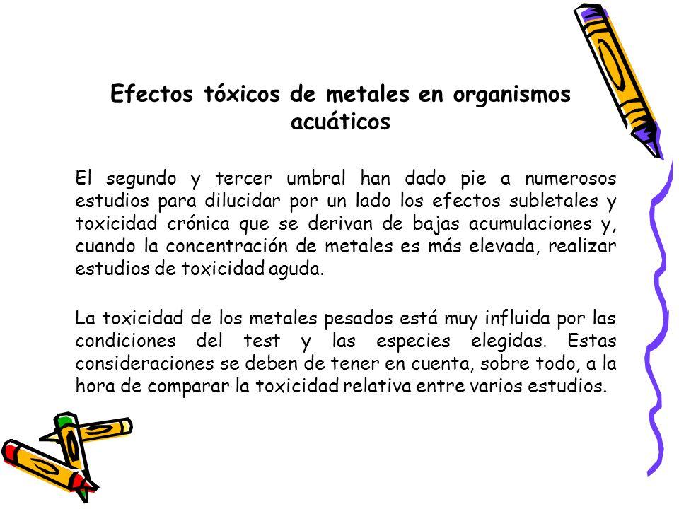Efectos tóxicos de metales en organismos acuáticos