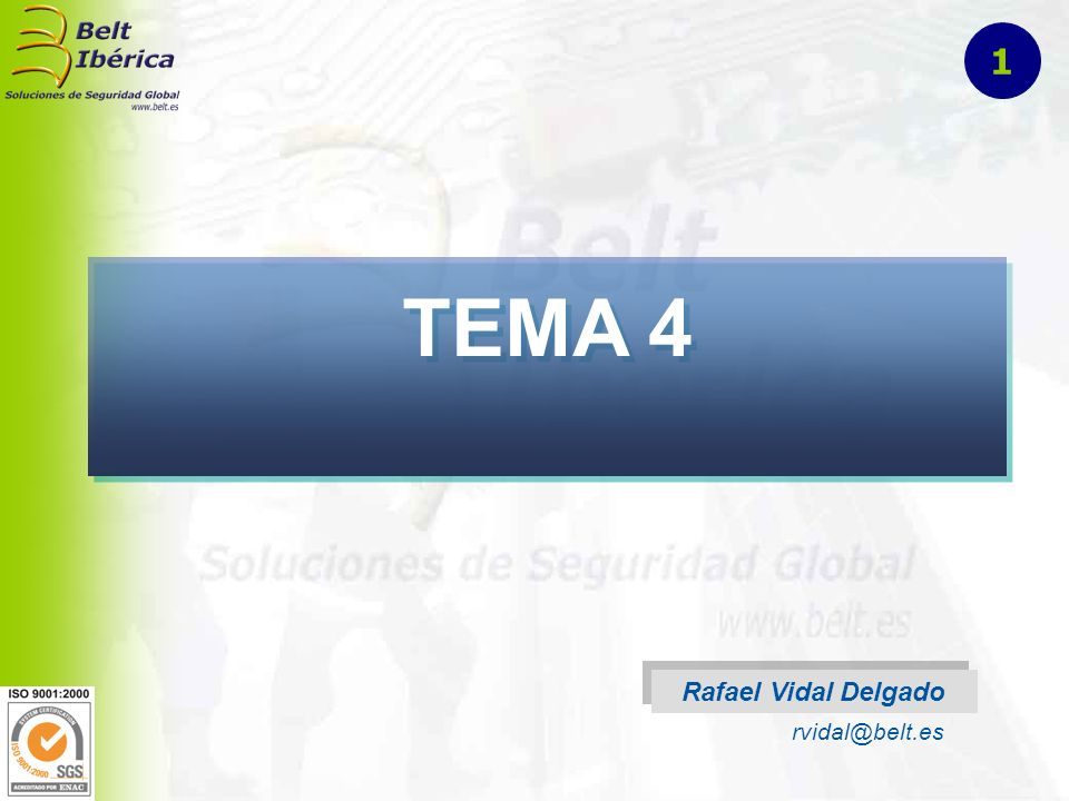 1 TEMA 4 Rafael Vidal Delgado rvidal@belt.es