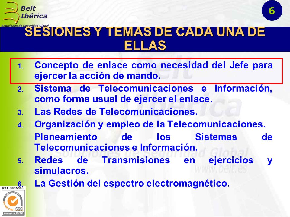 SESIONES Y TEMAS DE CADA UNA DE ELLAS