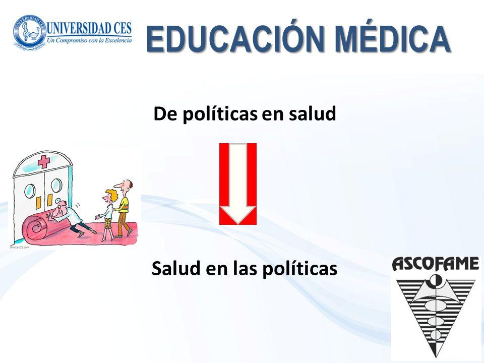 EDUCACIÓN MÉDICA De políticas en salud Salud en las políticas