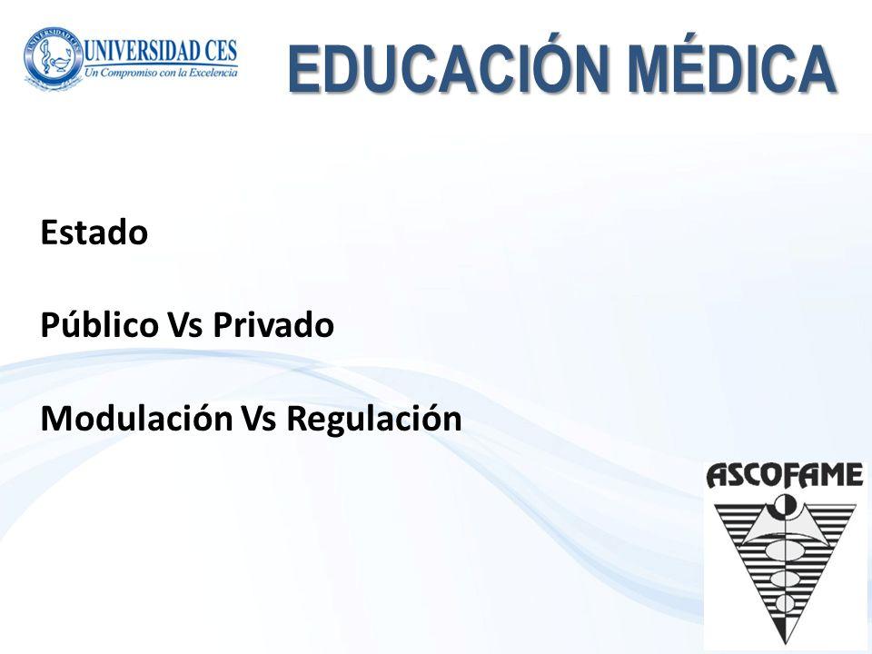 EDUCACIÓN MÉDICA Estado Público Vs Privado Modulación Vs Regulación