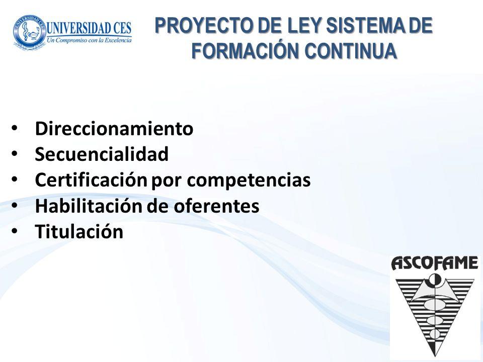 PROYECTO DE LEY SISTEMA DE FORMACIÓN CONTINUA