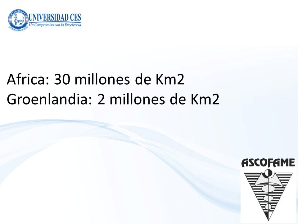 Africa: 30 millones de Km2 Groenlandia: 2 millones de Km2