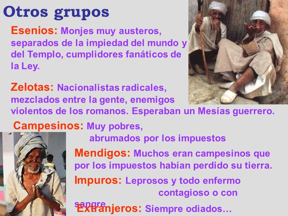 Otros grupos Esenios: Monjes muy austeros, separados de la impiedad del mundo y del Templo, cumplidores fanáticos de la Ley.