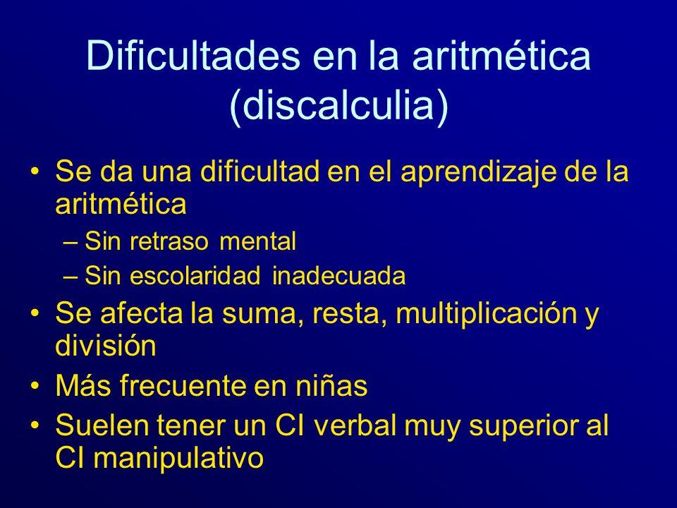 Dificultades en la aritmética (discalculia)
