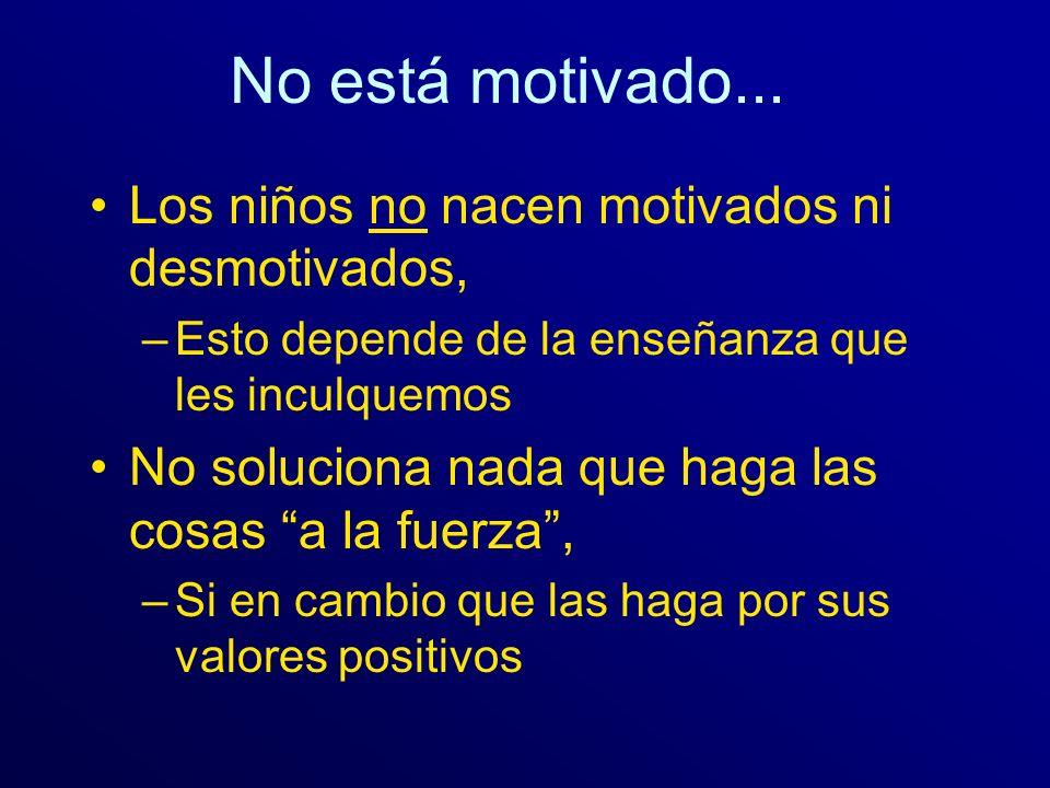 No está motivado... Los niños no nacen motivados ni desmotivados,