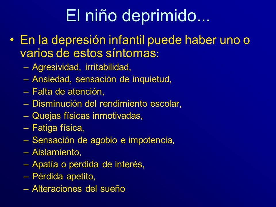 El niño deprimido... En la depresión infantil puede haber uno o varios de estos síntomas: Agresividad, irritabilidad,