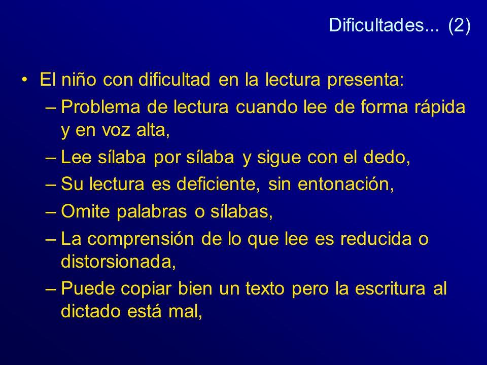 Dificultades... (2) El niño con dificultad en la lectura presenta: Problema de lectura cuando lee de forma rápida y en voz alta,
