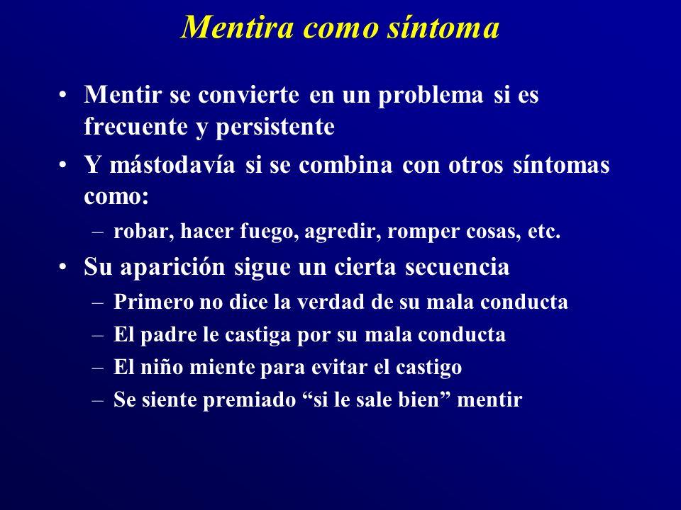 Mentira como síntoma Mentir se convierte en un problema si es frecuente y persistente. Y mástodavía si se combina con otros síntomas como: