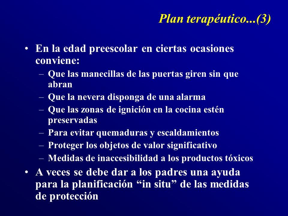 Plan terapéutico...(3) En la edad preescolar en ciertas ocasiones conviene: Que las manecillas de las puertas giren sin que abran.