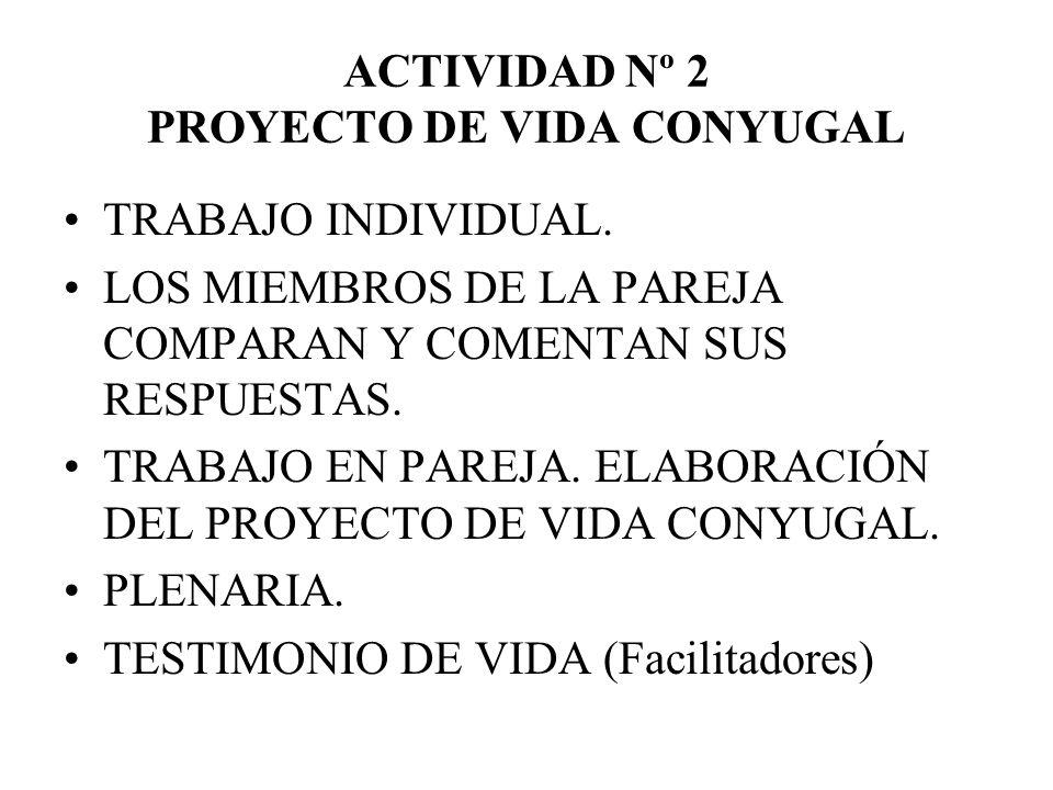 ACTIVIDAD Nº 2 PROYECTO DE VIDA CONYUGAL