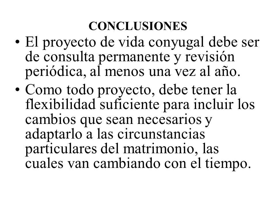 CONCLUSIONES El proyecto de vida conyugal debe ser de consulta permanente y revisión periódica, al menos una vez al año.