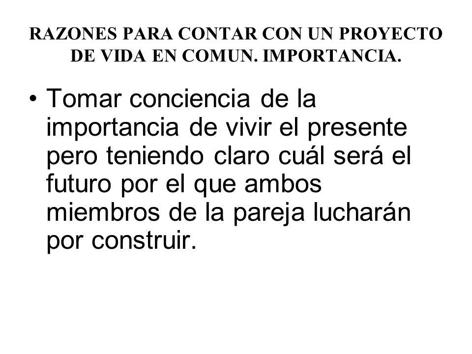 RAZONES PARA CONTAR CON UN PROYECTO DE VIDA EN COMUN. IMPORTANCIA.