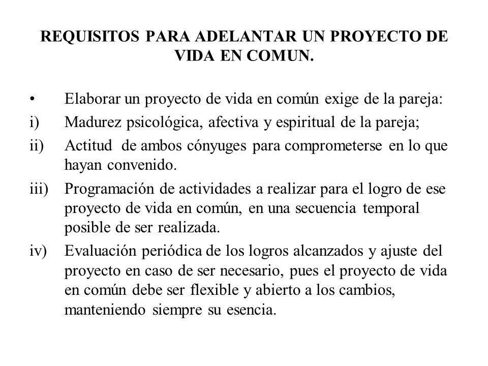 REQUISITOS PARA ADELANTAR UN PROYECTO DE VIDA EN COMUN.