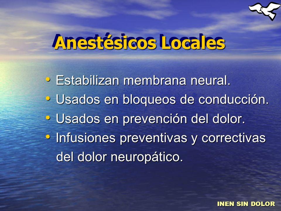 Anestésicos Locales Estabilizan membrana neural.