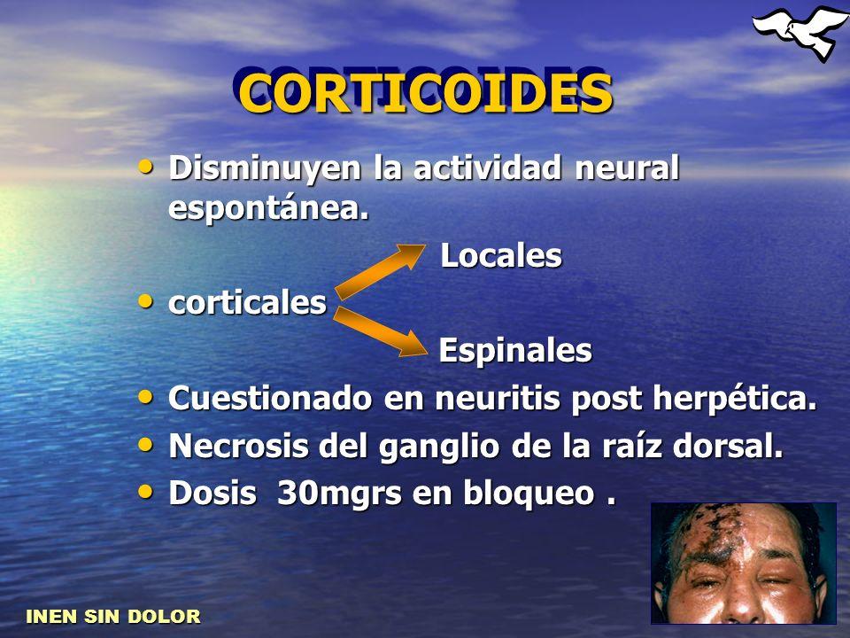 CORTICOIDES Disminuyen la actividad neural espontánea. Locales