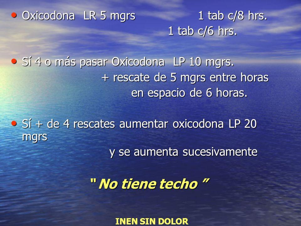 No tiene techo Oxicodona LR 5 mgrs 1 tab c/8 hrs. 1 tab c/6 hrs.