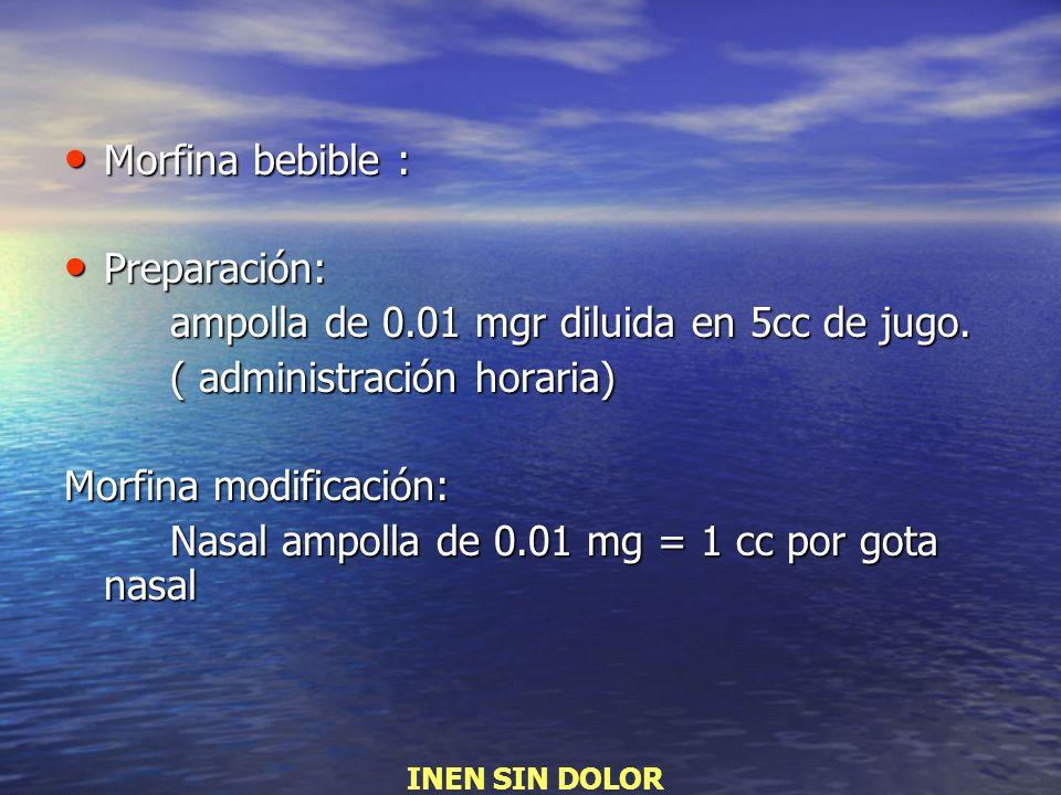 ampolla de 0.01 mgr diluida en 5cc de jugo. ( administración horaria)