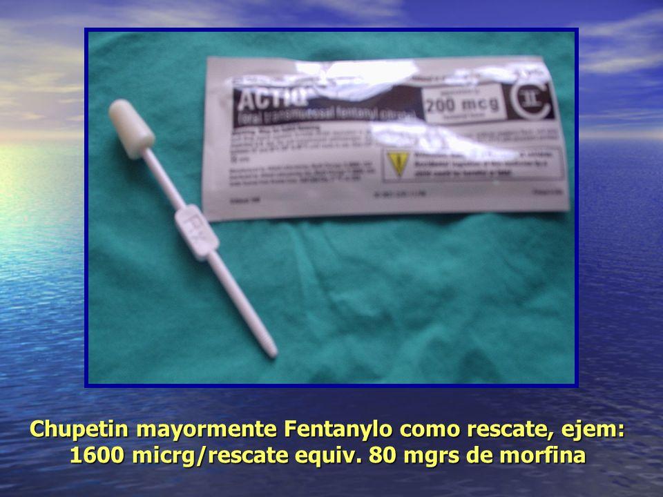 Chupetin mayormente Fentanylo como rescate, ejem: 1600 micrg/rescate equiv. 80 mgrs de morfina